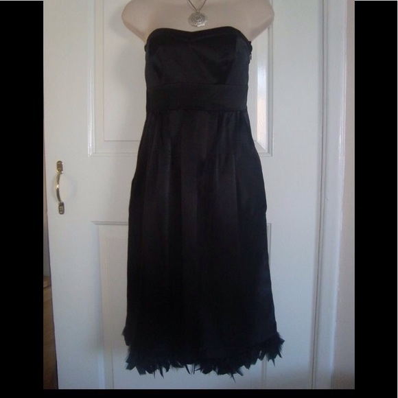outlet store sale low price save up to 80% Monsoon 100% Silk Black Prom Dress Feathers 10 NWT
